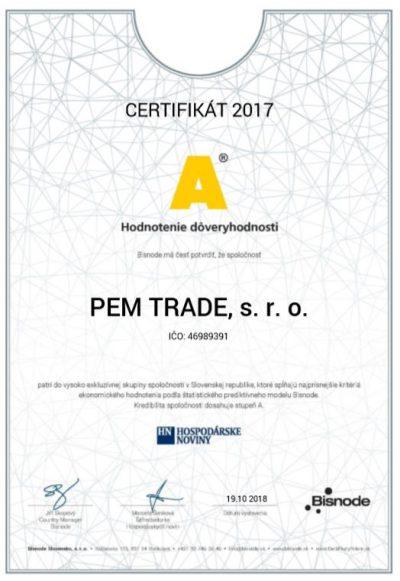 Certifikát Dôveryhodná firmy pre firmu PEM TRADE | pemtrade.sk