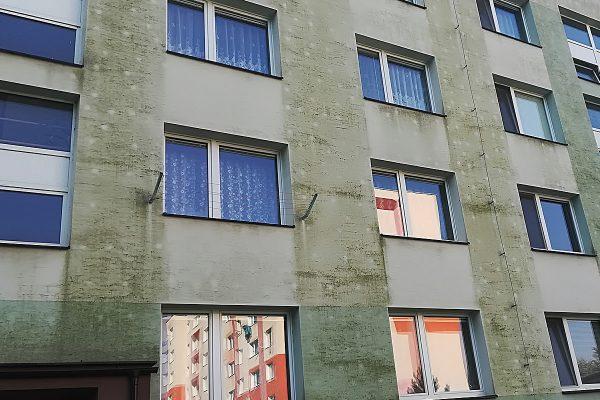 Fasáda bytového domu pokrytá plesňami a machom pred čistením | Pemtrade.sk